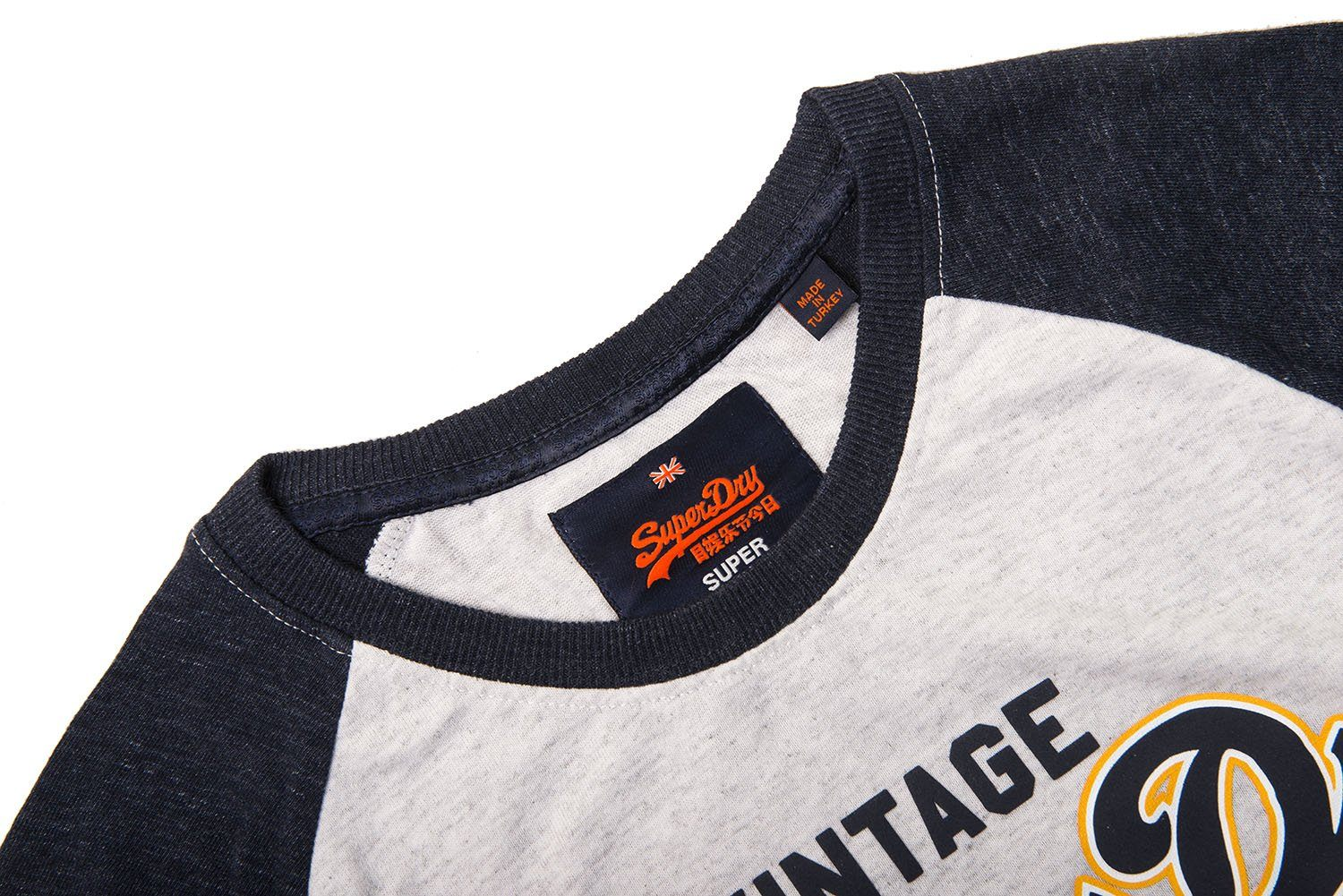 Superdry Premium Goods Raglan Tee in Silver / Blue