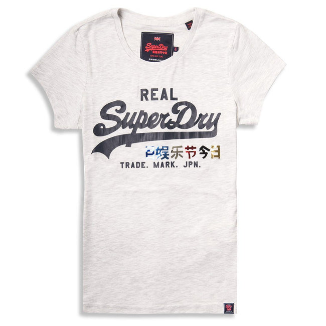 Ladies Superdry Foil Pop Entry Tee in Ice Marl