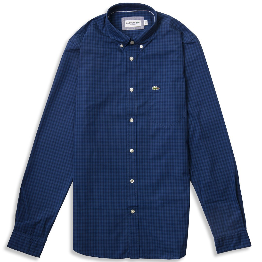 Lacoste CH9559-PXT Long Sleeve Check Shirt in Blue
