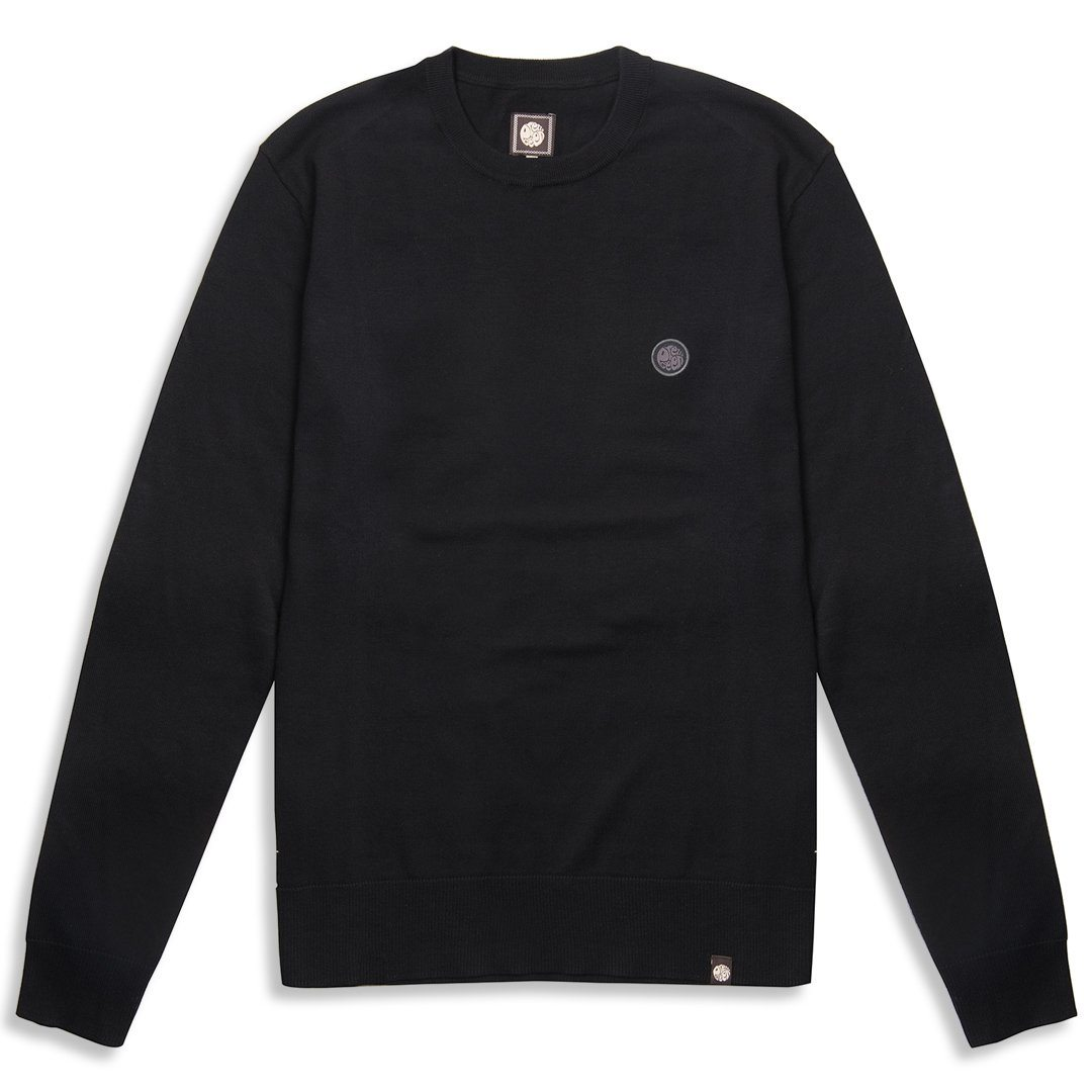 Pretty Green Crew Neck Knitted Jumper in Black