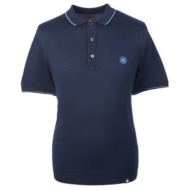 Pretty Green Tipped Knitted Polo Shirt in Blue