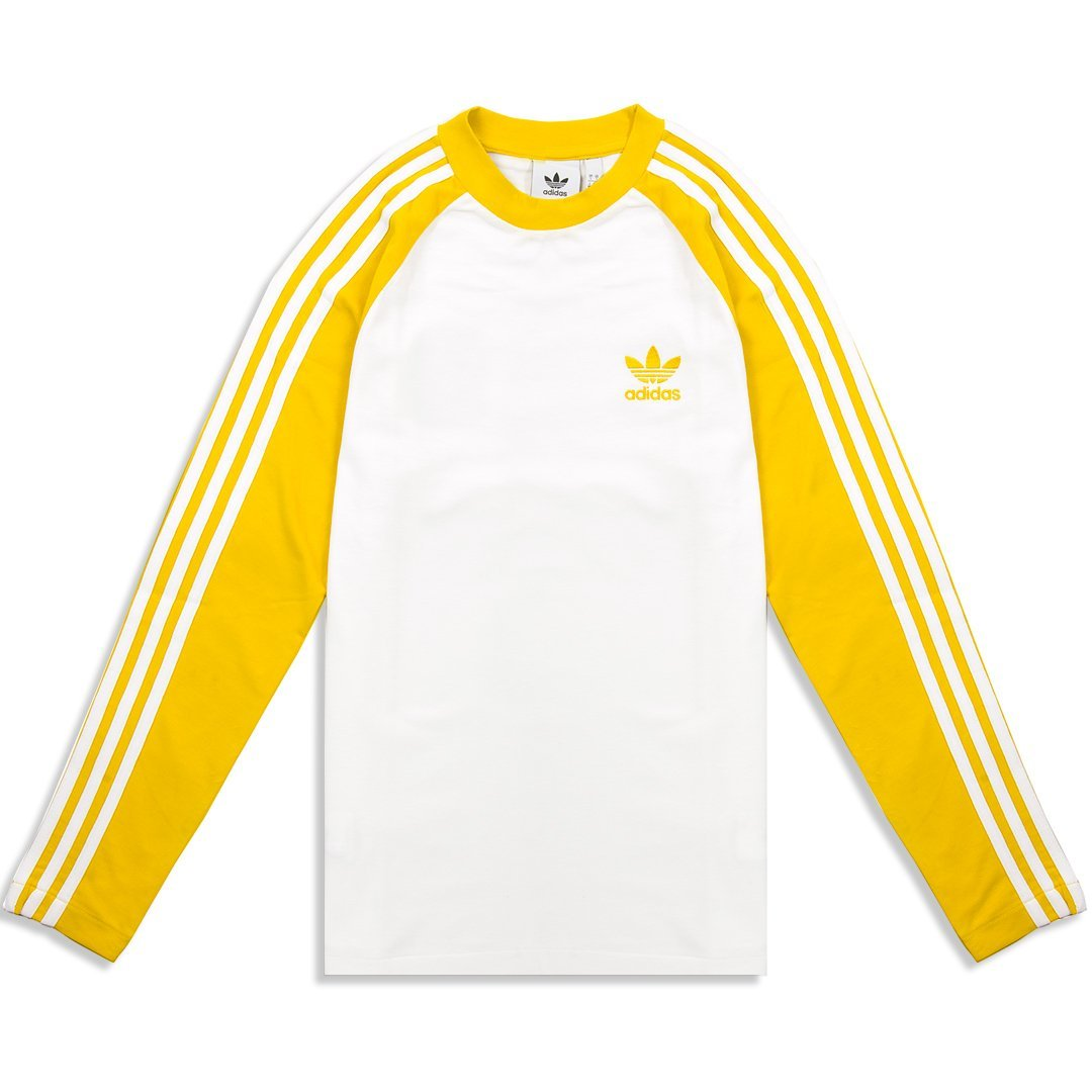 c057134cb3f Adidas 3 Stripe Long Sleeve Tee CW1230 in Yellow – Edwards Menswear