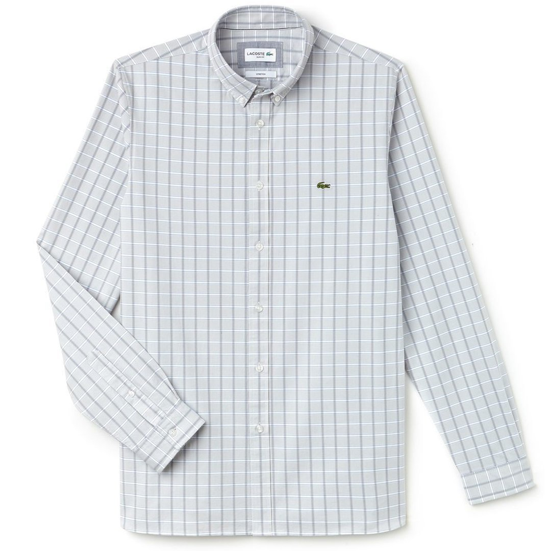 Lacoste CH4998-NU0 Button Down Collar Check Shirt in Grey