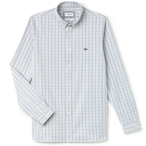 Lacoste CH4998-NU0 Button Down Collar Check Shirt in Grey Shirts Lacoste