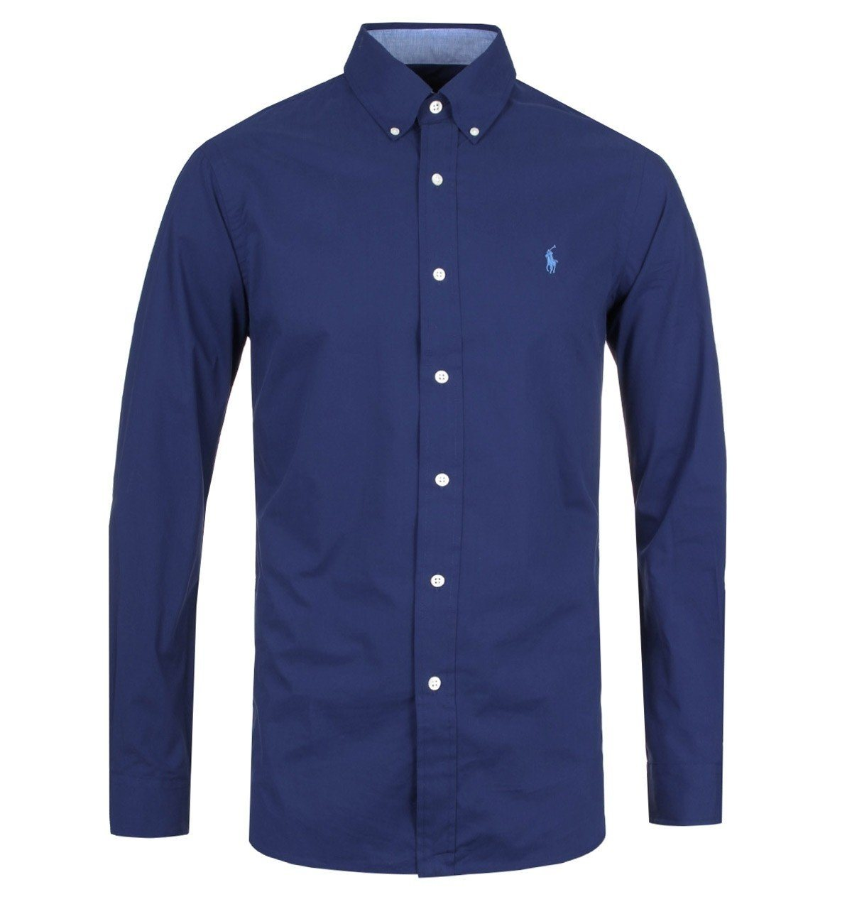 Ralph Lauren Stretch Cotton Poplin Button Down Shirt in Navy