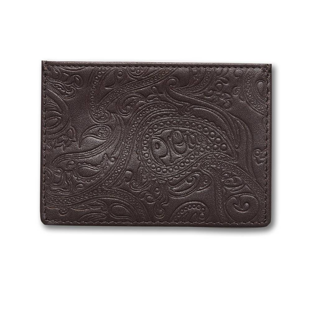 Pretty Green Paisley Embossed Cardholder in Chocolate