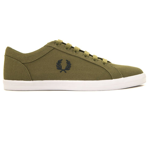 Fred Perry Baseline Canvas Trainers in British Olive Green Trainers Fred Perry