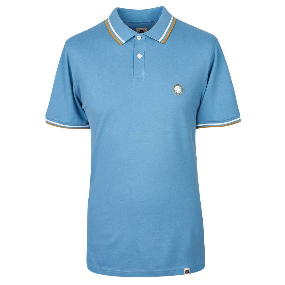 Pretty Green Tipped Pique Polo in Mid Blue