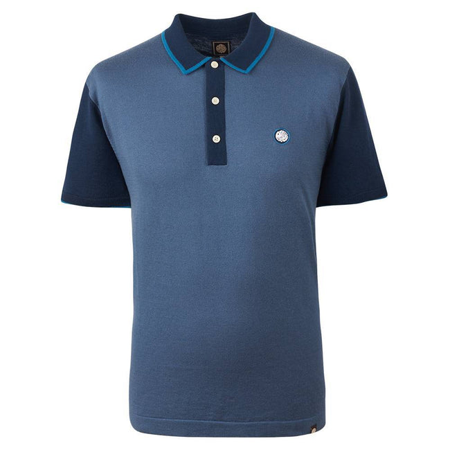 Pretty Green Contrast Panel Knitted Polo Shirt in Blue