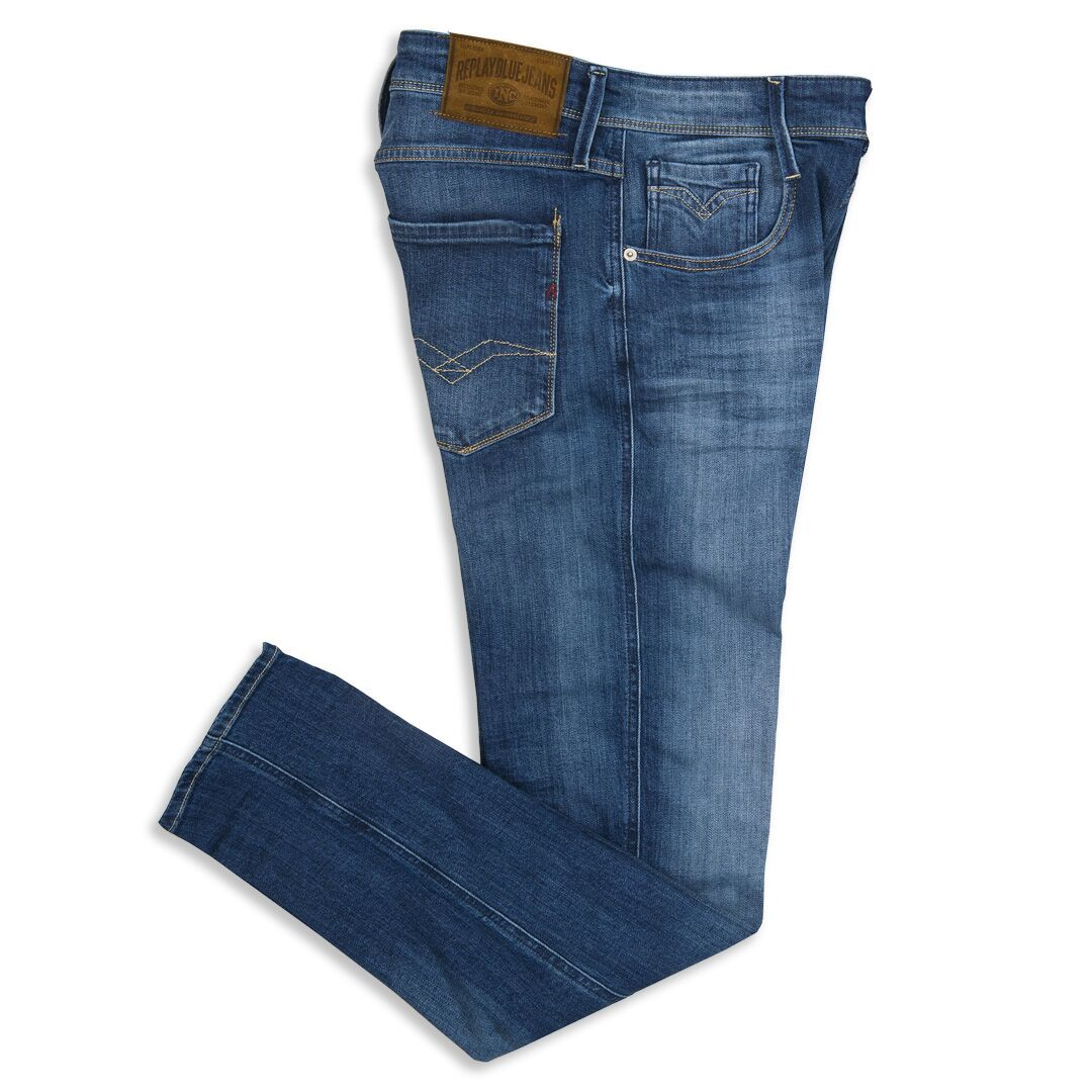 Replay Anbass Slim Fit Jeans in Mid Blue Wash