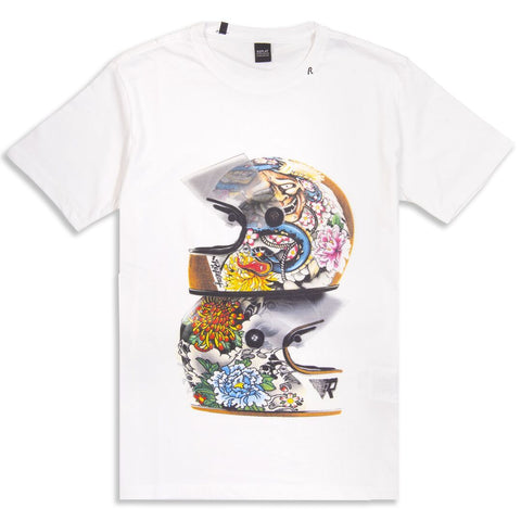 Replay Crash Helmet Print Logo Tee Shirt T-Shirts Replay White Small