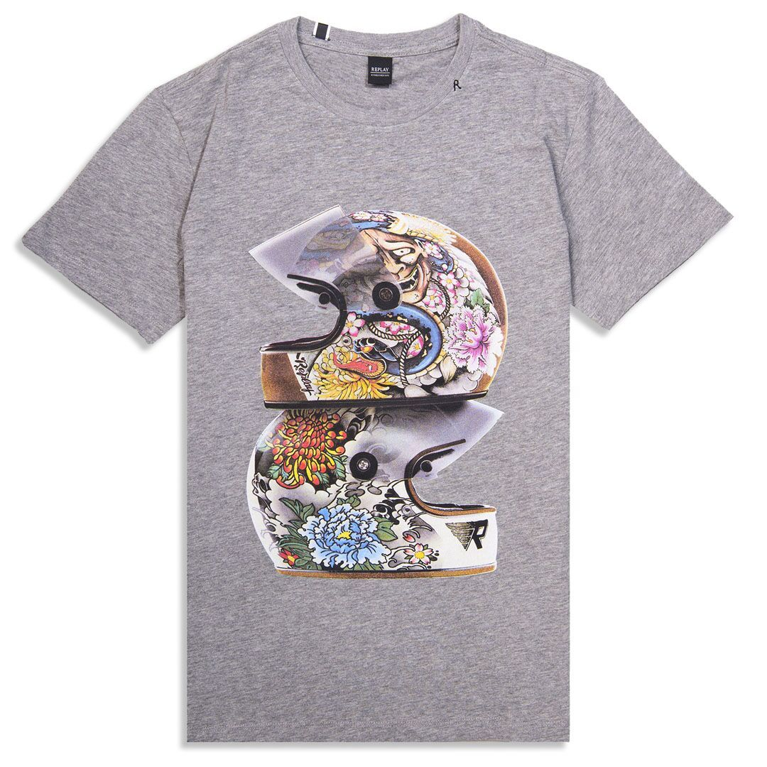 Replay Crash Helmet Print Logo Tee Shirt