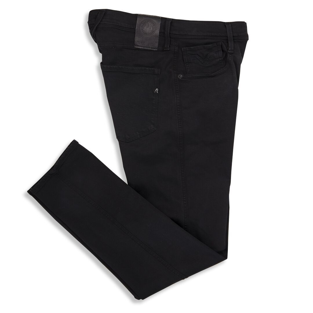 Replay Hyperflex Anbass Tapered Jeans in Black Denim