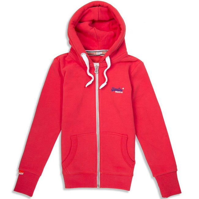 Ladies Superdry Orange Label Ziphood in Reef Red