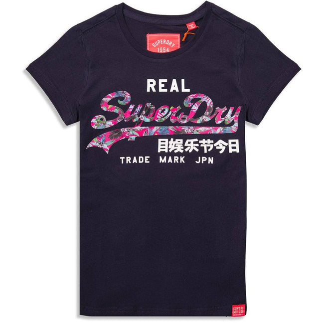 Ladies Superdry Vintage Logo Infill Entry Tee in Rinse Navy