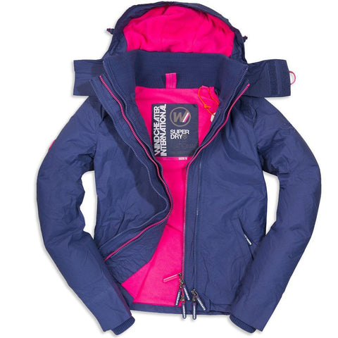 Ladies Superdry Artic Hooded Pop Zip Windcheater True Navy/ Neon Pink Coats & Jackets Edwards Menswear