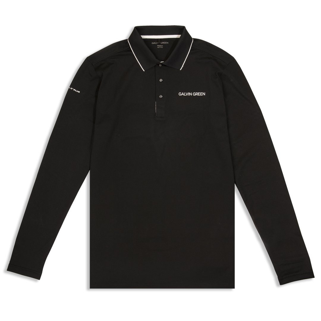 Galvin Green Marc V8+ Long Sleeve Polo Shirt in Black