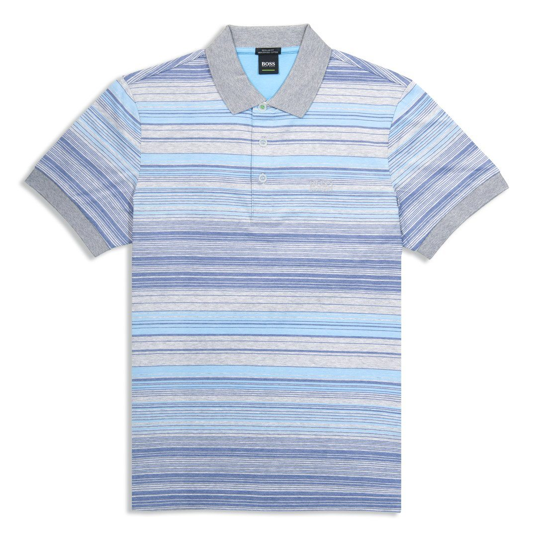 BOSS Paddy 3 Striped Polo Shirt in Grey / Blue