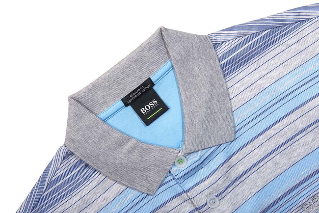 BOSS Athleisure Paddy 3 Striped Polo Shirt in Grey / Blue Polo Shirts BOSS