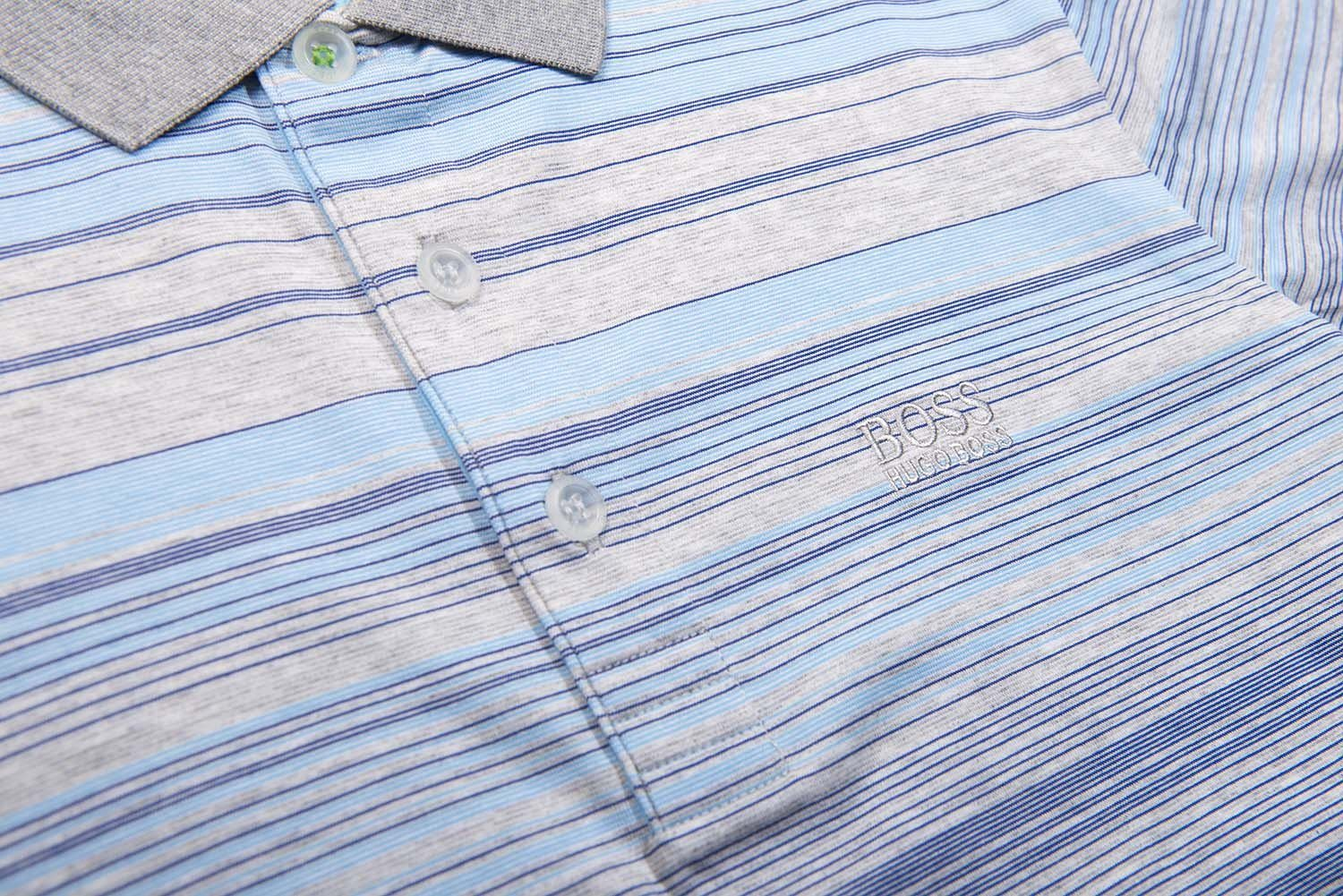 BOSS Athleisure Paddy 3 Striped Polo Shirt in Grey / Blue