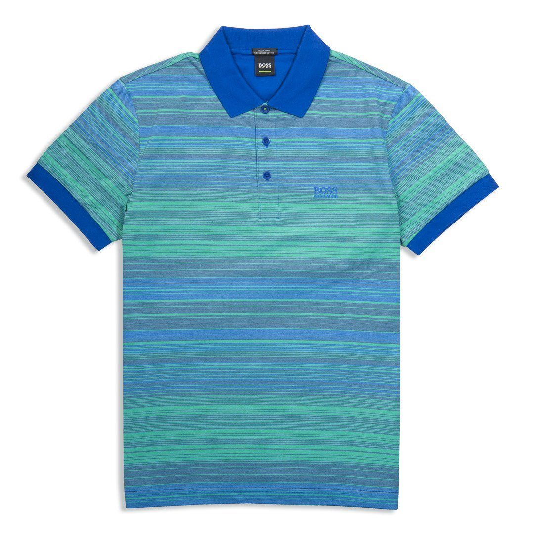 BOSS Athleisure Paddy 3 Striped Polo Shirt in Open Blue