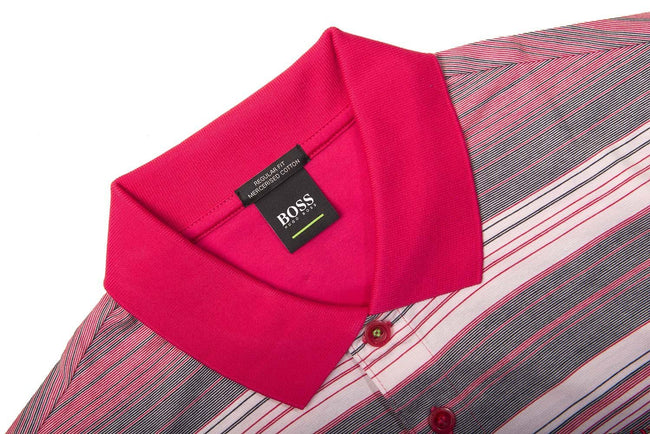 BOSS Paddy 3 Striped Polo Shirt in Bright Pink