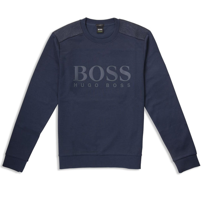BOSS Salbo Crew Neck Logo Sweatshirt in Navy