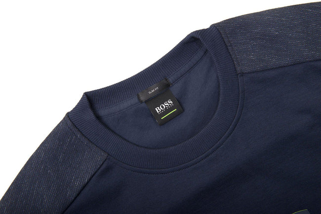 BOSS Salbo Crew Neck Logo Sweatshirt in Navy Jumpers BOSS