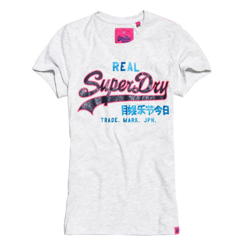 Ladies Superdry Vintage Logo Neon Entry Tee in Ice Marl T-Shirts Ladies Superdry