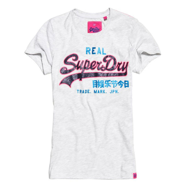Ladies Superdry Vintage Logo Neon Entry Tee in Ice Marl
