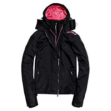 Ladies Superdry Tech Hood Pop Zip Windcheater in Black/Raspberry