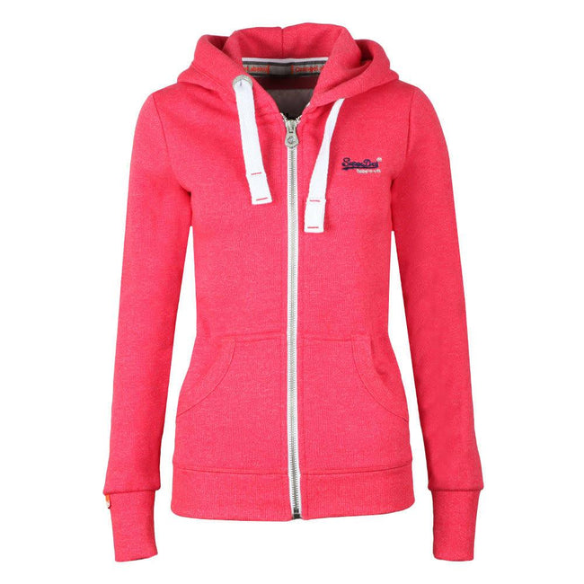 Ladies Superdry Orange Label Primary Zip Hood in Wild Cherry