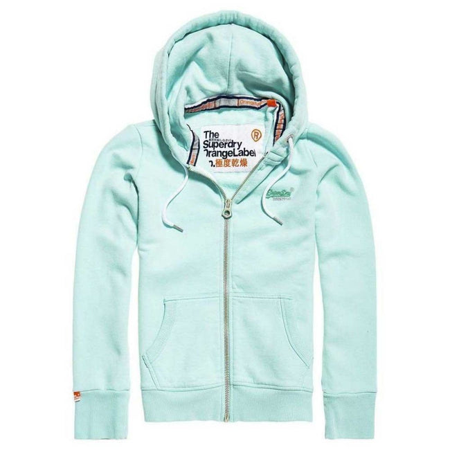 Ladies Superdry Orange Label Primary Zip hood in Freshmint Green