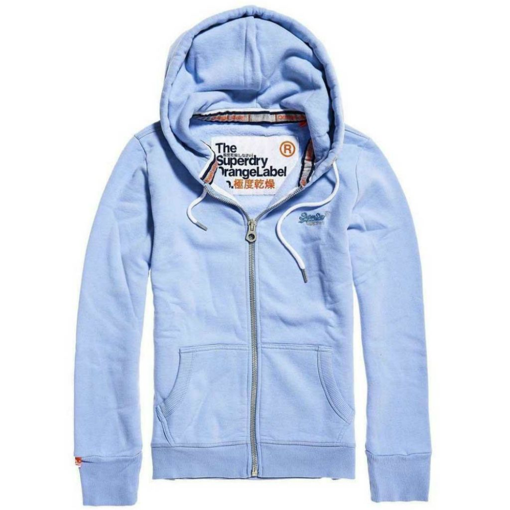Ladies Superdry Orange Label Primary Ziphood in Frosty Blue
