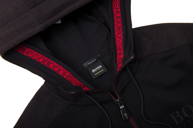 BOSS Saggy Full Zip Hooded Sweatshirt in Black / Red