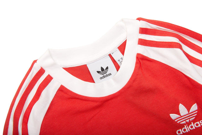 Adidas 3 Stripe Long Sleeved Tee in Bright Red T-Shirts adidas