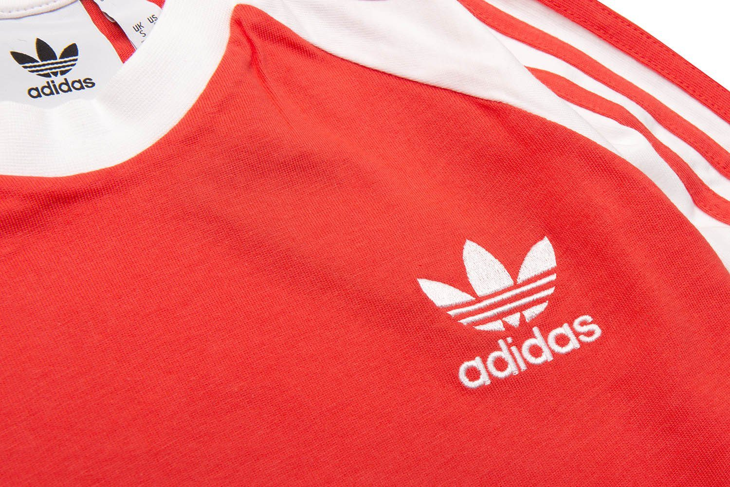 Adidas 3 Stripe Long Sleeved Tee in Bright Red