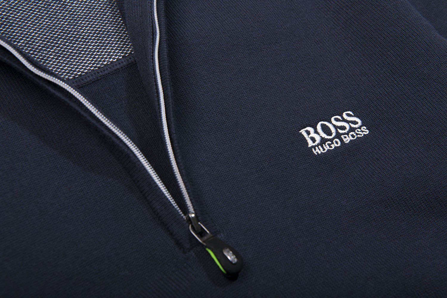 BOSS Zimex Quarter Zip Funnel Neck Jumper in Navy