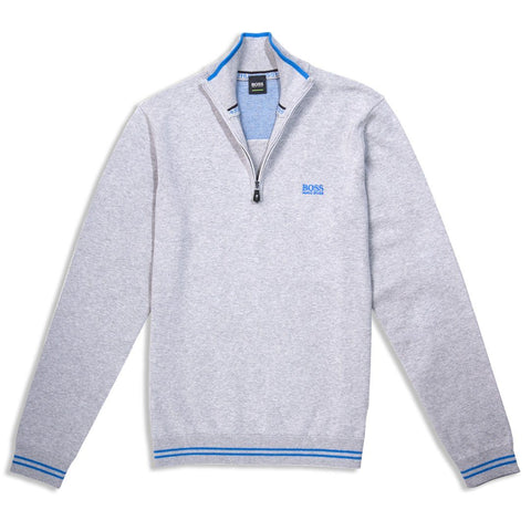 BOSS Zimex Quarter Zip Funnel Neck Jumper in Light / Pastel Grey Jumpers BOSS