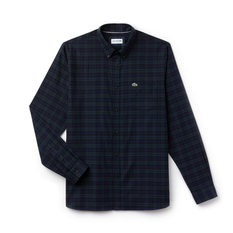 bd0d08dd95facb LACOSTE CH0461-CPN REGULAR FIT CHECK COTTON TWILL SHIRT IN SINOPLE /  MERIDIEN