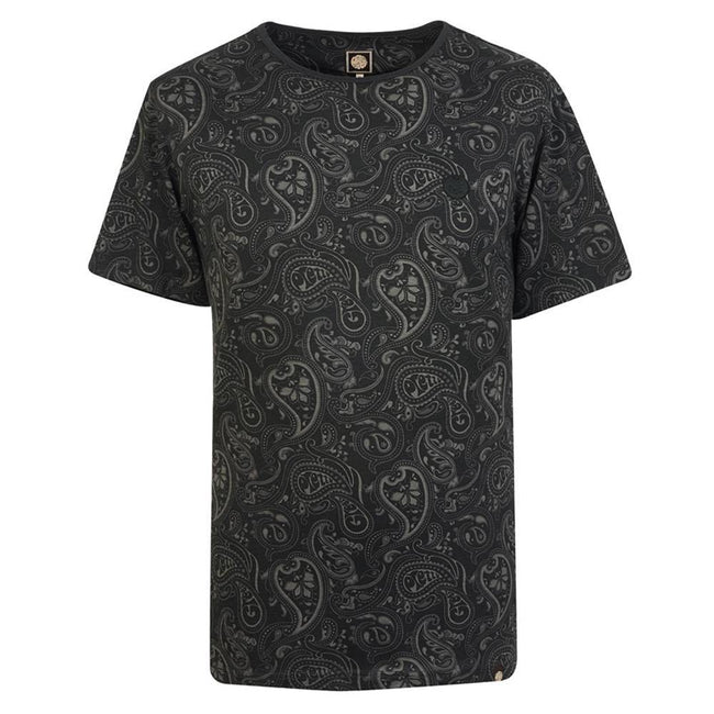 Pretty Green Paisley Print Tee in Black