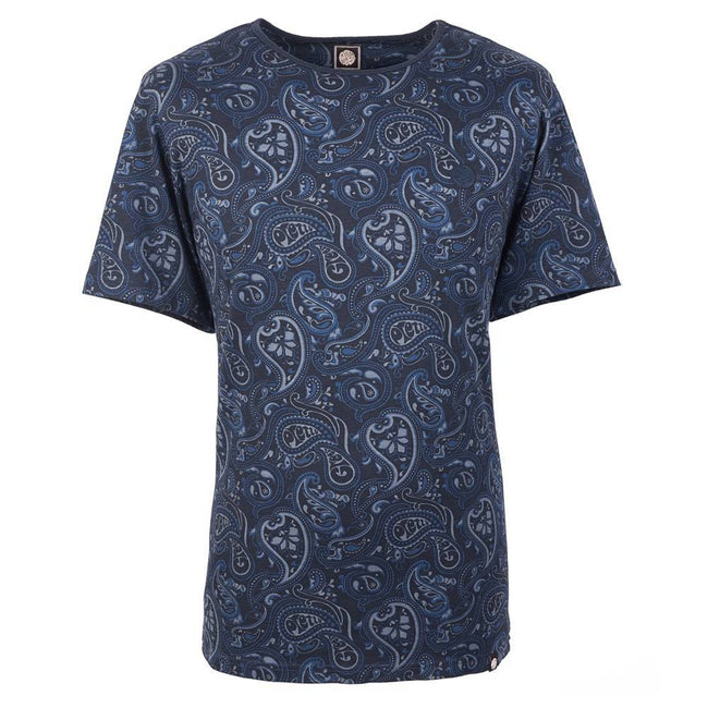 Pretty Green Paisley Print Tee in Navy