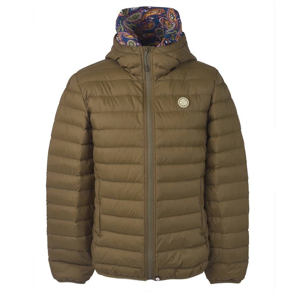 Pretty Green Lightweight Quilted Hooded Jacket in Khaki