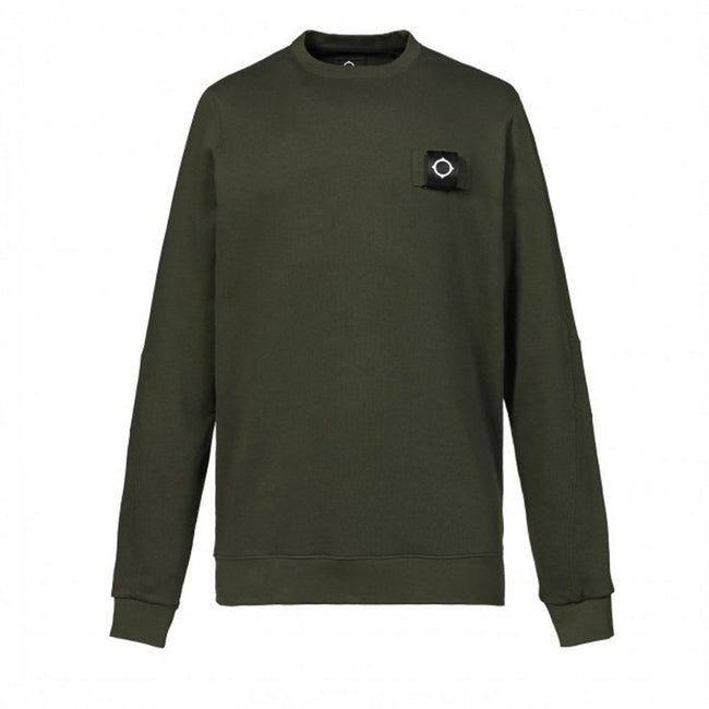 MA.STRUM Training Crew Neck Sweatshirt in Dark Khaki Green