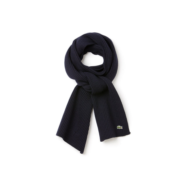 Lacoste RE4212-166 Ribbed Wool Scarf in Marine