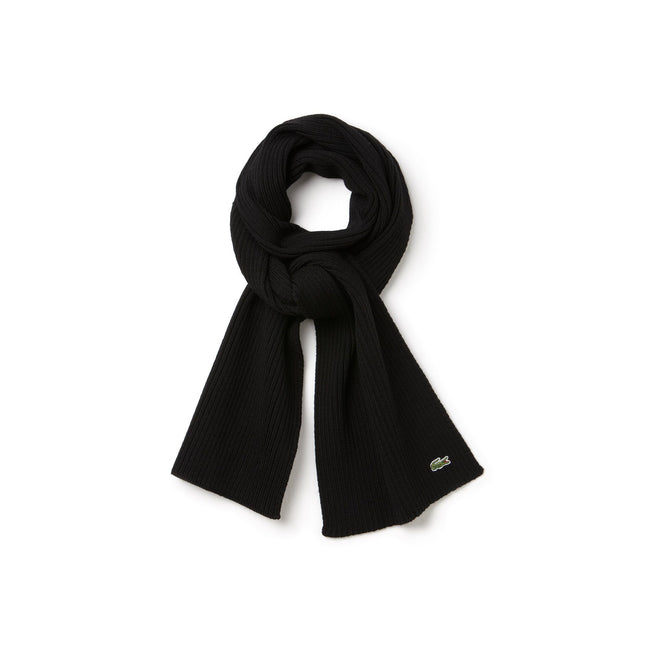 Lacoste RE4212-031 Ribbed Wool Scarf in Black
