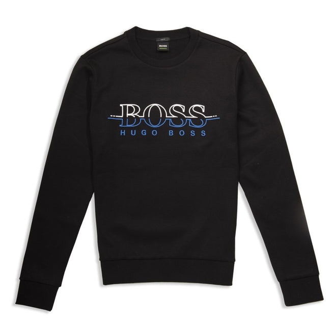 BOSS Salbo Crew Neck Sweatshirt in Black / Blue Jumpers BOSS