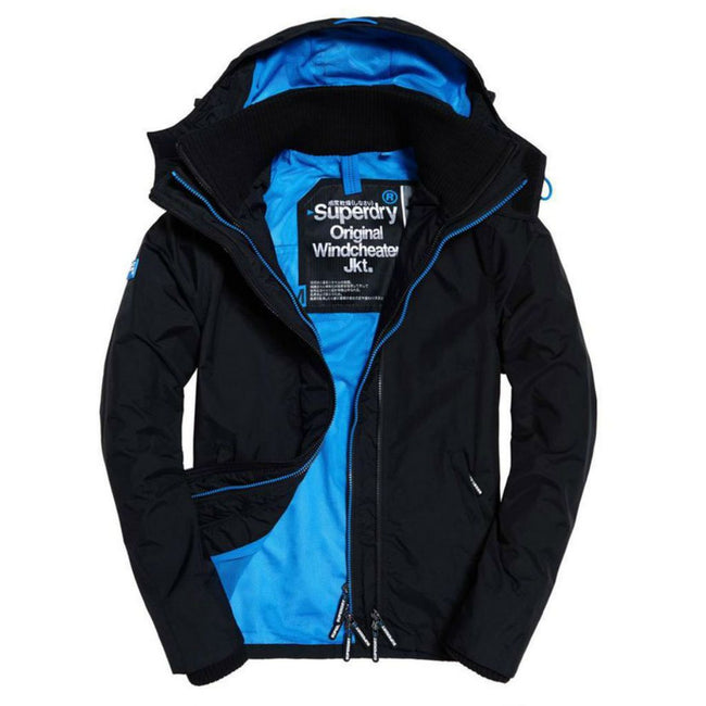 Ladies Superdry Artic Hood Pop Zip Windcheater in Black / Pigment Blue