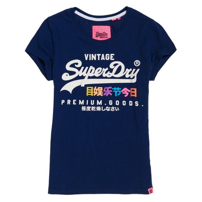 Ladies Superdry Premium Goods Puff Entry Tee in Super Marine Navy