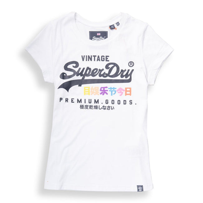 Ladies Superdry Premium Goods Puff Entry Tee in White